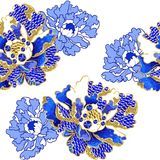 Japanese peony flowers embroidery with sequins and beads. For print of textile design Royalty Free Stock Image