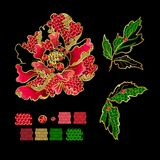 Japanese peony flowers embroidery with sequins and beads for print of textile. Design Royalty Free Stock Photo