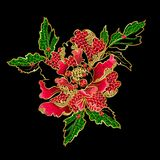Japanese peony flowers embroidery with sequins and beads. For print of textile design Stock Images