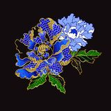 Japanese peony flowers embroidery with sequins. And beads for print of textile design Stock Photo