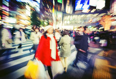 Japanese People Crowd Walking Cross Street Concept Royalty Free Stock Photos
