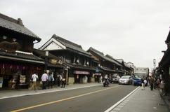 Japanese people and foreigner traveler walking and travel at Kawa. Traffic road with Japanese people and foreigner traveler walking and travel at Kawagoe or royalty free stock images