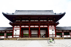 Japanese people and foreigner travellers biking bicycle and visi Royalty Free Stock Images