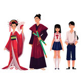 Japanese people - geisha and samurai, typical schoolgirl, schoolboy Royalty Free Stock Photography