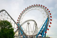 Tokyo Dome Roller Coaster, Japan Travel. Japanese people have fun and ride the roller coaster at the Tokyo Dome in Japan. The orient and Asia is a popular travel Stock Images