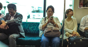 Japanese people on the train Stock Photo