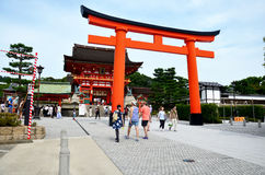 Japanese people and traveler foreigner walking at inside of Fushimi Inari taisha shrine. For visit and pray on July 11, 2015 in Kyoto, Japan royalty free stock photos
