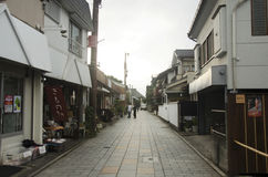 Japanese people walking on street at small alley in Kawagoe or K. Awagoe Little Edo in town of Kanto region on October 19, 2016 in Saitama, Japan stock photos