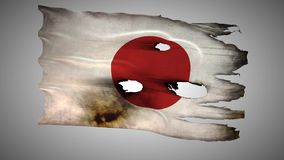Japanese perforated, burned, grunge waving flag loop alpha stock video footage