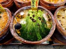 Japanese pickled greens. On sale at the Nishiki Market, Kyoto, Japan Stock Images