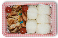 Japanese picnic box. Homemade foods or obento for going to picnic Royalty Free Stock Photo