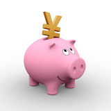 Japanese piggy bank. A golden Yen in a pink piggy bank (3D rendering) - A clipping path is embedded to isolate the subject (no shadow vector illustration