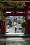Japanese Pilgrimage. A Japanese pilgrim setting off from a Buddhist temple to walking the 88 Temple Pilgrimage in Shikoku, Japan Stock Photography