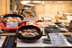 Japanese plastic food replicas in restaurant window Royalty Free Stock Images