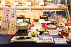 Japanese plastic food replicas in restaurant window Stock Images