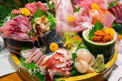 Japanese plate of sashimi. With raw seafood Royalty Free Stock Photo