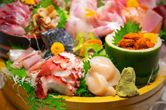 Japanese plate of sashimi Stock Images