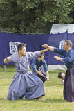 Japanese playing martial arts in a park in Tokyo Royalty Free Stock Image