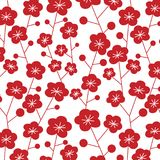 Japanese plum pattern. Japanese vintage plum pattern in red and white stock illustration