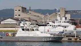 Japanese police patrol boat. KAGAWA, JAPAN - JUNE 01: Japanese police high speed patrol boat. Japan coast guard. Sakaide-harbor, Kagawa, Japan on Jun 01, 2015 stock video footage