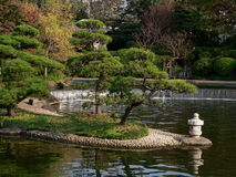 Japanese pond. Quiet japanese pond with pine tree and small lantern, Tokyo Stock Photo