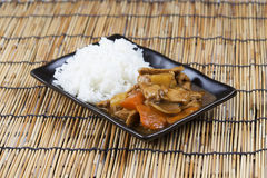 Japanese pork curry with rice ,carrot,onion and potato Royalty Free Stock Photos
