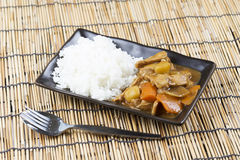 Japanese pork curry with rice ,carrot,onion and potato Stock Photo