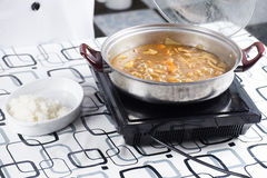 Japanese pork curry with steam rice Royalty Free Stock Photography