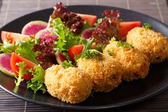Japanese potato korokke and fresh vegetables close-up. horizonta. Japanese potato korokke and fresh vegetables close-up on a plate. horizontal Royalty Free Stock Image