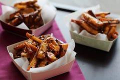 Japanese potato snack. Japanese snack of fried and caramerized sweet potatoes Stock Photo