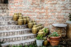 Japanese Pots on Stairs Royalty Free Stock Images