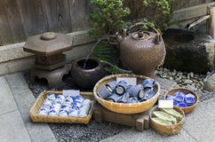 Japanese pottery for sale. On the street of Kyoto royalty free stock photo