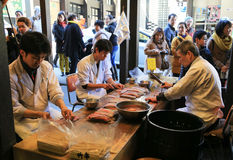 Japanese preparing fresh eel for cooking at the restaurant in To Stock Photos