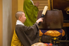 Japanese Priest at Zojoji Temple in Tokyo. TOKYO, JAPAN - NOVEMBER 25: Shichi-go-san in Tokyo, Japan on November 25, 2013. A Group of unidentified monks with Royalty Free Stock Photo