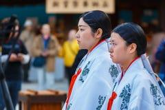 Japanese Priestess (Miko) Royalty Free Stock Image