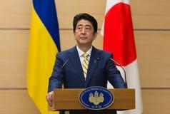 Japanese Prime Minister Shinzo Abe. TOKYO, JAPAN - Apr 06, 2016: Japanese Prime Minister Shinzo Abe during his meeting with President of Ukraine Petro Poroshenko stock image