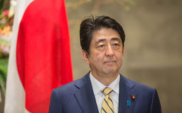 Japanese Prime Minister Shinzo Abe. TOKYO, JAPAN - Apr 06, 2016: Japanese Prime Minister Shinzo Abe during his meeting with President of Ukraine Petro Poroshenko Royalty Free Stock Images