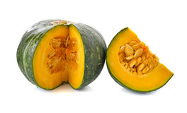 Japanese pumpkin with seed on white Stock Photography