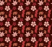 Japanese purple seamless wallpaper. Traditional Japanese purple and pink seamless pattern wallpaper with cherry blossoms, dragonflies and maple leaves Royalty Free Stock Photos