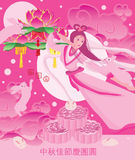 Japanese rabbit chinese moon cake pink fairy card. This illustration is design rabbit cake and Chinese moon cake with pink fairy and cute jumping rabbit in card Royalty Free Stock Photography