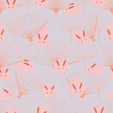 Japanese rabbit fan symmetry seamless pattern. This illustration is design symmetry fan background appear active rabbit play in seamless pattern Stock Photo