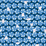 Japanese rabbit flower modern twist blue seamless pattern Royalty Free Stock Photography