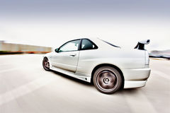 Japanese Race Car. Moving Japanese performance race drift car royalty free stock images
