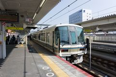Japanese railway`s Miyakoji Rapid Service. stock photos