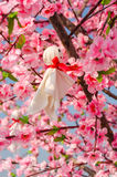 Japanese Rain Doll hanging on Sakura tree in outdoor garden Royalty Free Stock Image