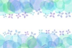 Japanese rainy hydrangea flower abstract or pastel watercolor paint background. Japanese rainy blue hydrangea flower abstract or pastel watercolor paint stock illustration