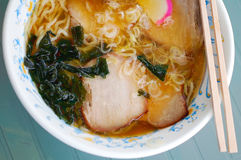 Japanese ramen. Noodle with meat and wakame Royalty Free Stock Photo