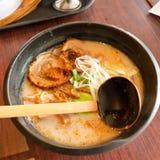 Japanese ramen. Delicious Japanese dolphin bone ramen Royalty Free Stock Image