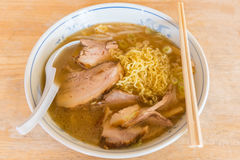 Japanese ramen noodle. Japanese ramen noodle on wood desk background Royalty Free Stock Photo