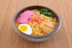 Japanese ramen noodles. Delicious ramen noodles on the table stock photo